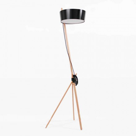 Floor Lamp in Wood and Metal with Details in Vegan Leather - Avetta