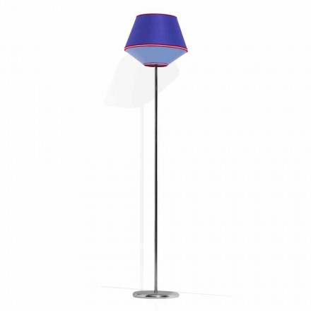 Floor Lamp in Chromed Metal with Fabric Lampshade Made in Italy - Soya