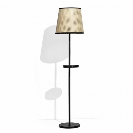 Floor Lamp in Black Metal and Rattan with Shelf Made in Italy - Livia