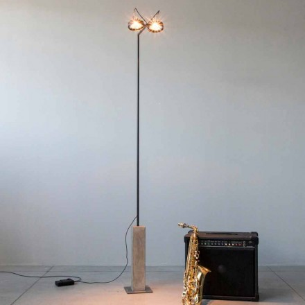 Iron Floor Lamp with Cement Base Made in Italy - Wink