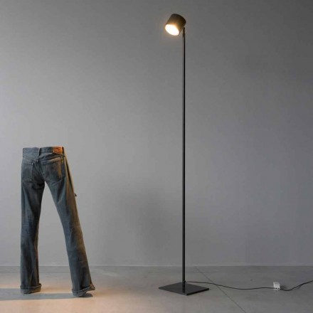 Minimal Floor Lamp in Iron and Black Aluminum Made in Italy - Osiris