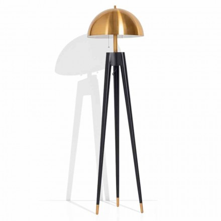 Modern Floor Lamp in Metal and Brushed Brass Made in Italy - Peter