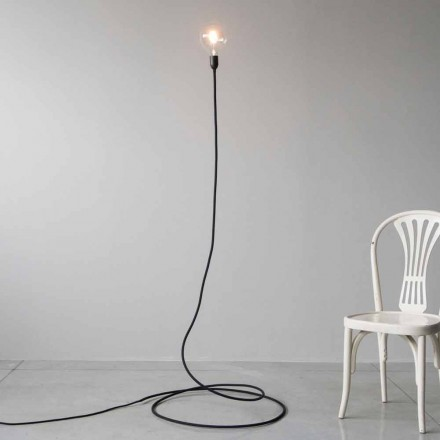 Modern Floor Lamp in Handmade Copper and Cotton Made in Italy - Guapa