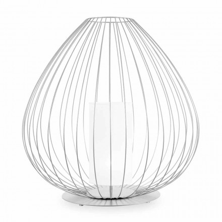 Floor or Support Lamp in White or Bronze Metallic Wire - Lantern