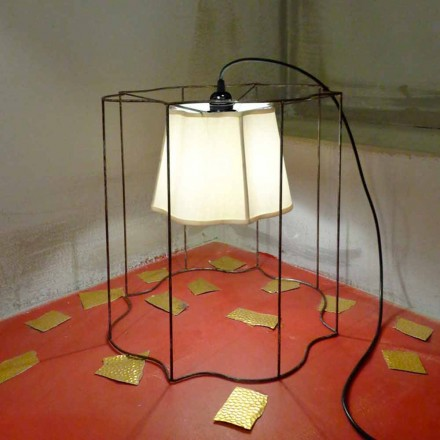 Contemporary floor/pendant lamp with organdy lamp shade Cigno