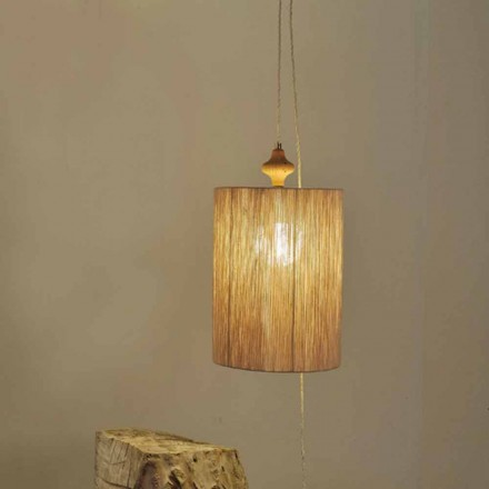 Floor / suspension lamp in wood and sand color Bois wool