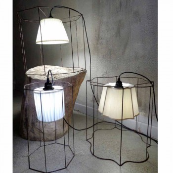 Modern floor / suspension lamp with Cigno cage