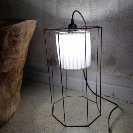 Contemporary floor/pendant lamp with cage Cigno
