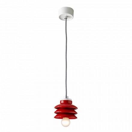 Design pendant lamp in red ceramic made in Italy Asia