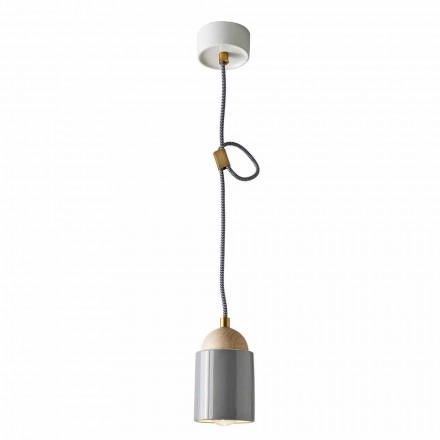 Suspension design lamp made of wood and ceramic made in Italy Asia