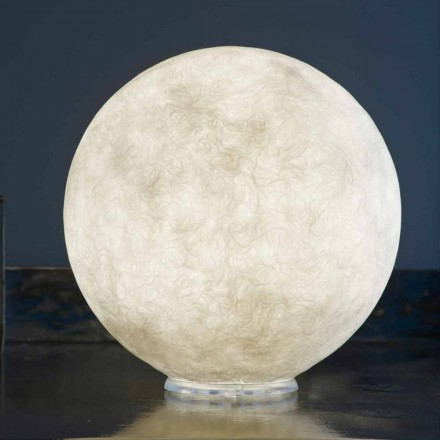 Table design lamp In-es.artdesign T.moon in white nebulite