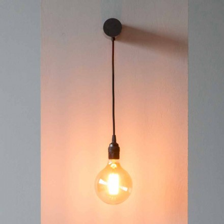Design Lamp in Black Iron with Cotton Cable Made in Italy - Cladia