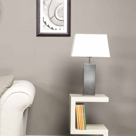 Modern table lamp in steel and white Renna lampshade