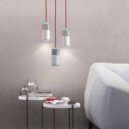 Suspended design lamp in ceramic and aluminum made in Italy Asia