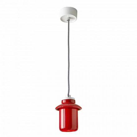 Design lamp suspended in red ceramic made in Italy Asia