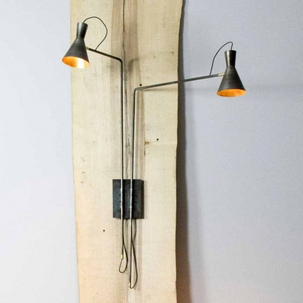 Double Wall Lamp Handmade in Iron and Aluminum Made in Italy - Selina