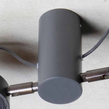 Aluminum Lamp with 2 Adjustable Lights Handmade Made in Italy - Gemina