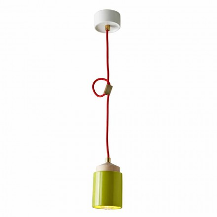 Lamp in beech wood and suspended ceramic made in Italy Asia