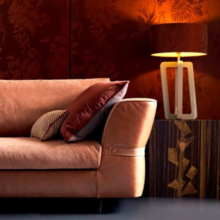Design table lamp in solid lacquered wood Grilli Barnaby made Italy