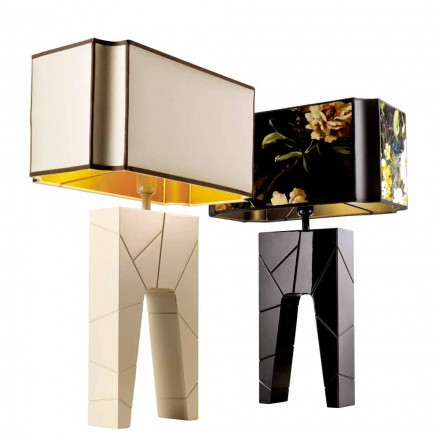 Modern design table lamp in solid wood Grilli Zarafa made Italy