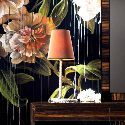 Grilli Snake design fabric and leather table lamp made in Italy