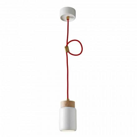 Modern pendant lamp in white ceramic made in Italy Asia