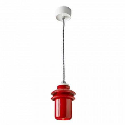 Modern pendant lamp in red ceramic made in Italy Asia