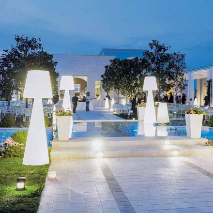 Modern white outdoor floor lamp Slide Pivot, produced in Italy