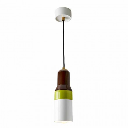 Modern suspended lamp in brass and ceramic made in Italy Asia