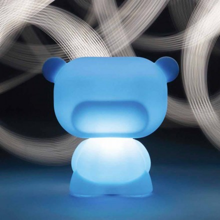Bright bear-shaped table lamp Slide Pure, produced 100 % in Italy