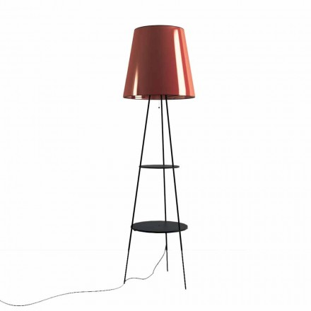 Floor Lamp in Black and Copper Metal with USB Socket Made in Italy - Dixie
