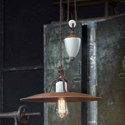 Kristen handmade ceramic and metal lamp with pulley system by Ferroluce