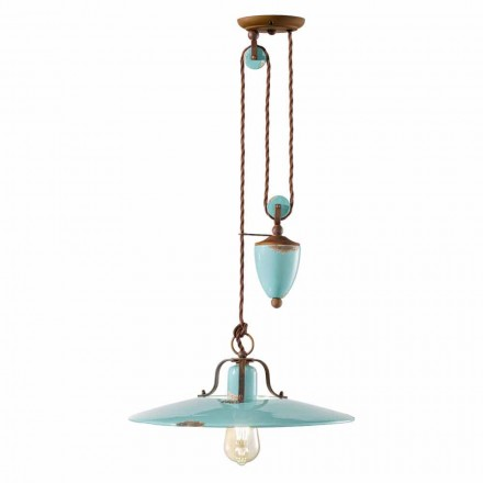 Country handcrafted lamp made of metal and ceramics with pulley system Evelyn