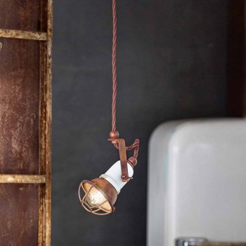 adjustable pendant lamp ceramic and metal Alayna Ferroluce