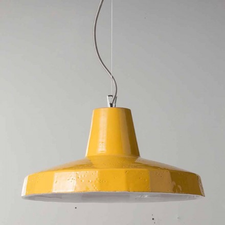 42cm pendant lamp in brass and tuscan maiolica Rossi – Toscot