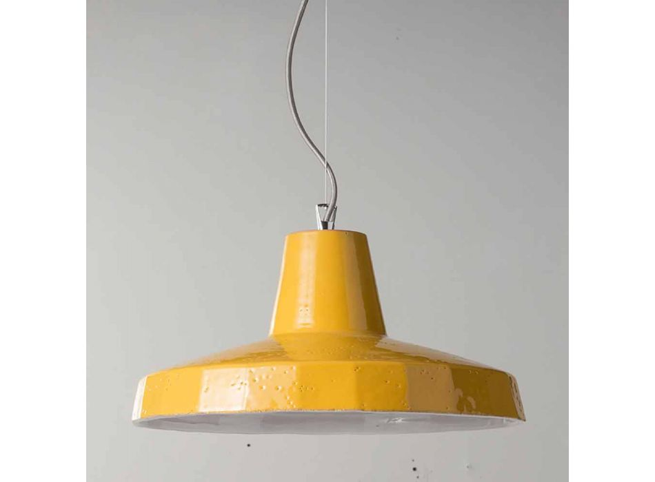 Hanging lamp 42 cm in brass and Tuscan majolica Rossi - Toscot