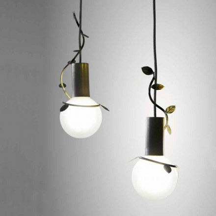 Suspended lamp with 2 lights in iron and brass produced in Italy Thea