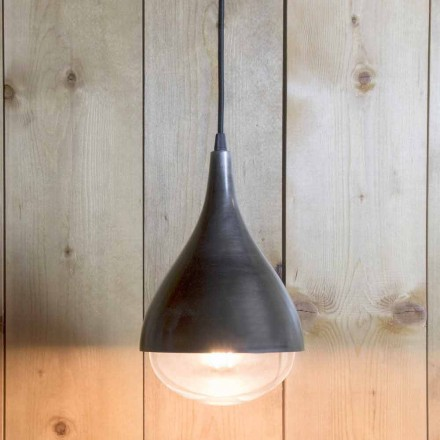 Handcrafted Suspended Lamp in Aluminum and Black Cotton Made in Italy - Sissa