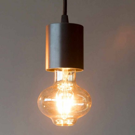 Handcrafted Iron Hanging Lamp with Cotton Cable Made in Italy - Frana