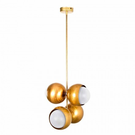 Handcrafted Suspended Lamp in Natural Brass and Glass Made in Italy - Gandia