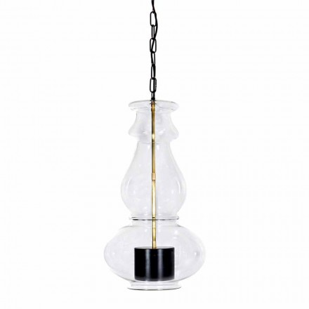 Handcrafted Suspended Lamp in Blown Glass and Brass Made in Italy - Vitrea