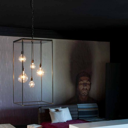 Suspended Lamp with Hand Made Iron Structure Made in Italy - Cosma