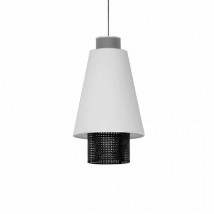 Modern Design Suspended Lamp in Fabric and Rattan Made in Italy - Sailor
