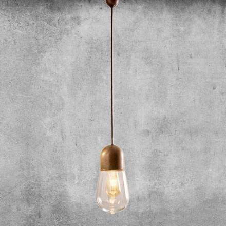 Vintage Design Hanging Lamp in Brass and Glass - Aldo Bernardi Guinguette