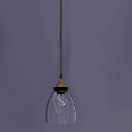 Design Suspended Lamp in Metal and Transparent Glass Made in Italy - Clizia