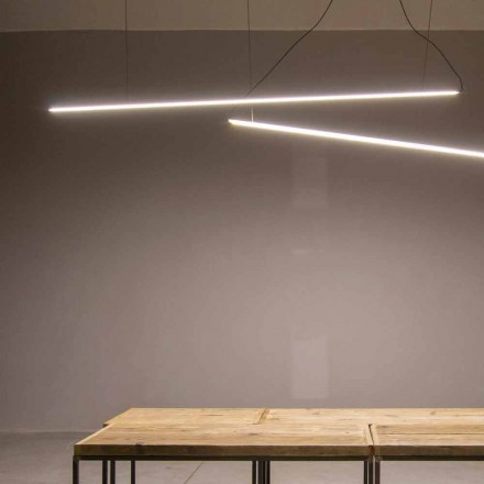 Suspended Lamp Handmade in Aluminum with LED Bar Made in Italy - Ledda