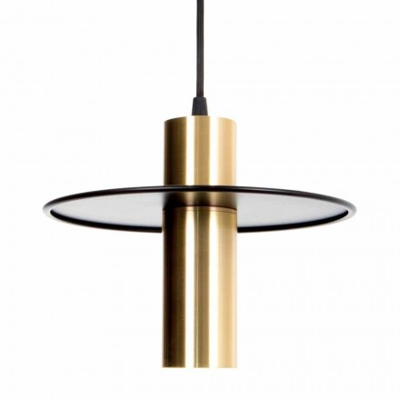 Handmade Hanging Lamp in Iron and Brass with LED Made in Italy - Astio