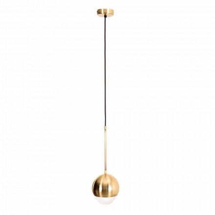 Handmade Hanging Lamp in Brass and Decorative Glass Made in Italy - Gandia