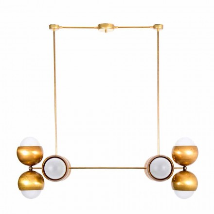 Handmade Hanging Lamp in Brass and Satin Glass Made in Italy - Gandia