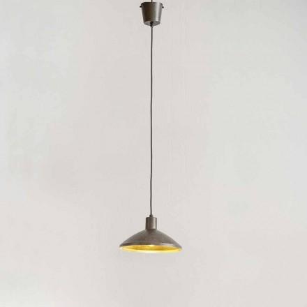 Suspension Lamp in Antique Steel Diameter 310 mm - Materia Aldo Bernardi